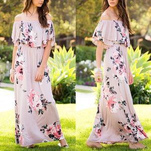 CARLIE Off Shoulder Floral Maxi Dress